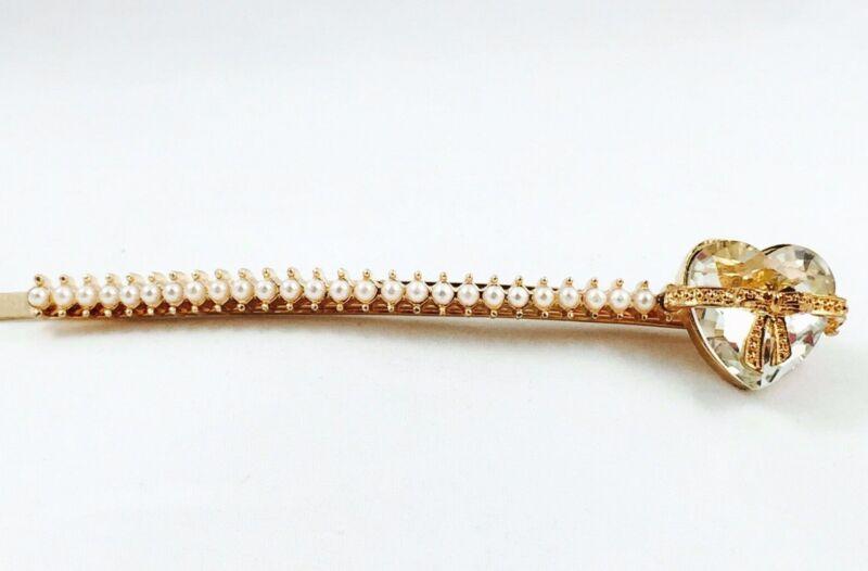 Fashion Gold Plated Bobby Pin, Pearl Hair Pin, Crystal Heart Bobby Pin