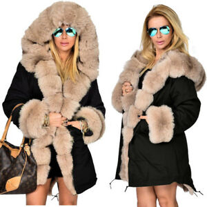 Girls Women Parker Coat With Large Faux Fur Hooded Parka Jacket ...