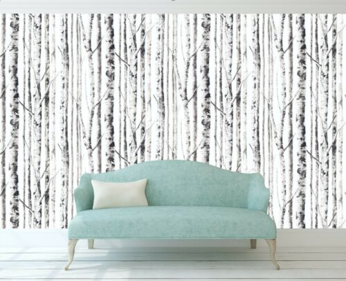 Birch Tree Removable Wallpaper Black and White Peel and Stick Forest Nursery
