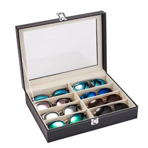 8 Slot Glasses Case Sunglasses Box Display Eyeglasses Storage Organizer Black