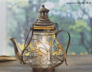 metall laterne teekanne f r kerzen landhaus kerzenhalter windlicht neu ebay. Black Bedroom Furniture Sets. Home Design Ideas