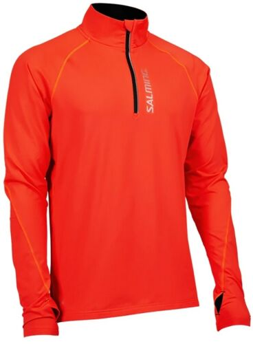 Salming Half Zip Long Sleeve Mens Running Top Orange