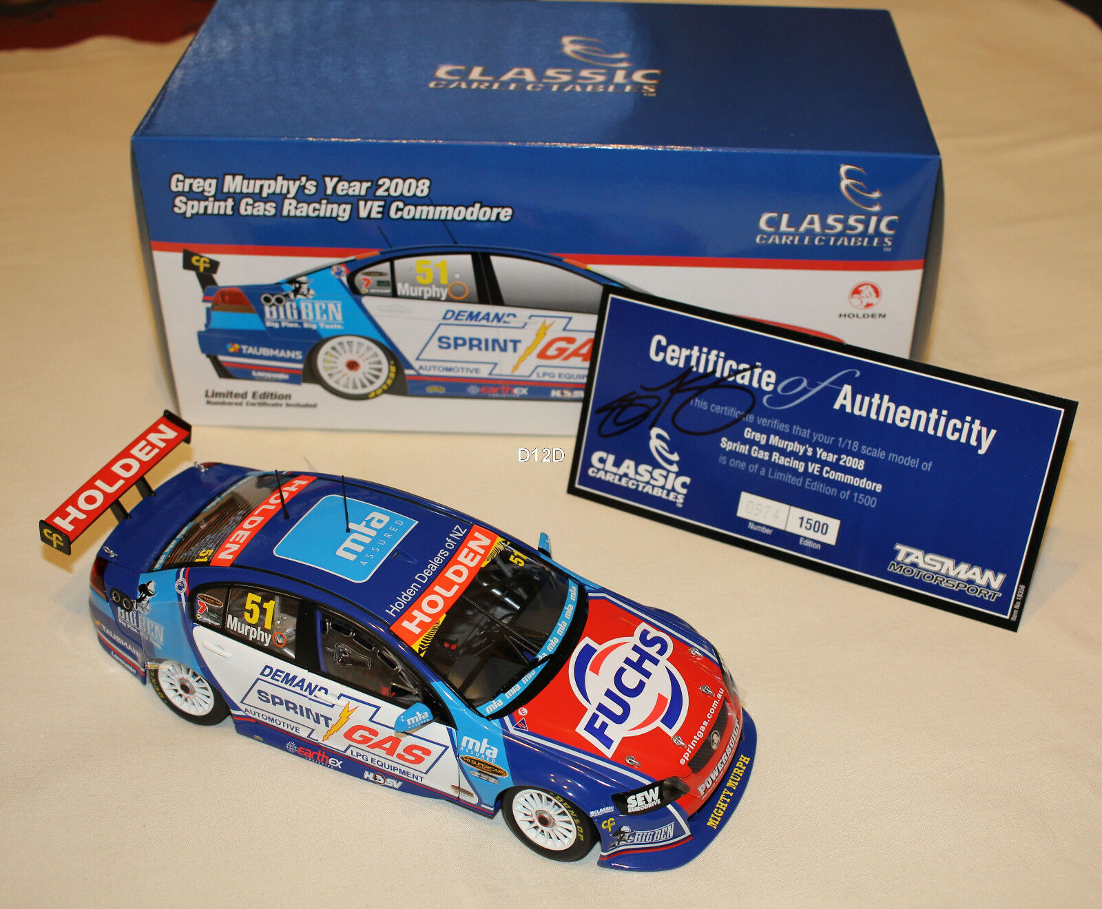 Greg Murphy 2008 Sprint Gas Racing Holden VE Commodore V8 Supercar 1 18