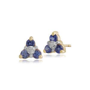 Gemondo-9ct-Oro-Amarillo-Tanzanite-amp-Diamond-Cluster-pendientes-con-Pasador