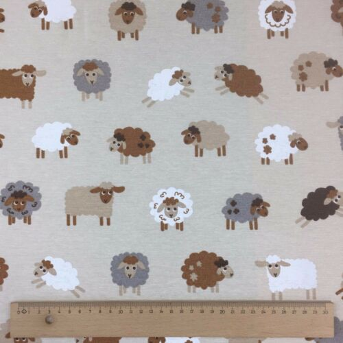 """Novelty Animals Design Cotton Rich Linen Fabric Curtaining /& Upholstery 54/"""" Wide"""