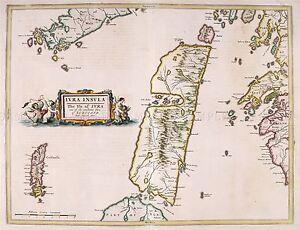 MAP-ANTIQUE-1654-SCOTLAND-BLAEU-JURA-HISTORIC-LARGE-REPLICA-POSTER-PRINT-PAM0128
