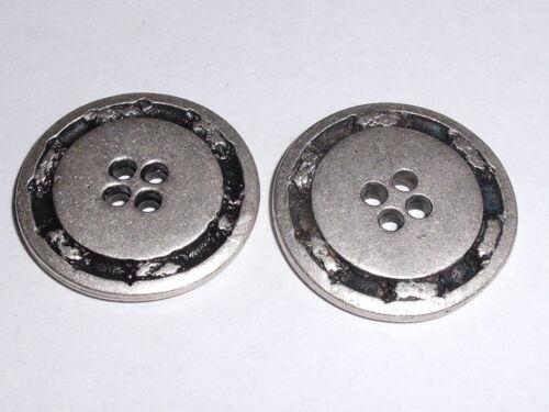 6 Stück Metallknöpfe Knopf Knöpfe 27 mm altsilber NEU rostfrei 0271