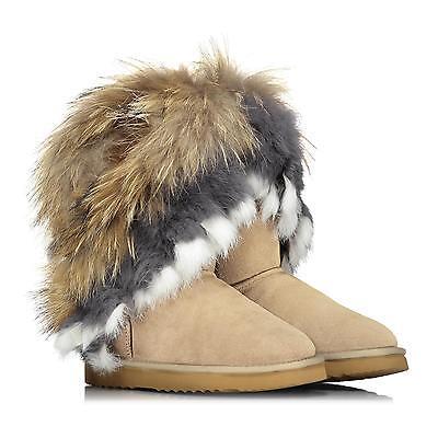 OOG Damen echt Leder Boots Stiefel Pelz Fell Fellstiefel FOX SAND beige