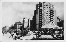 RIO DE JANEIRO Praia Copacabana Beach Scene RPPC ca 1940s Postcard