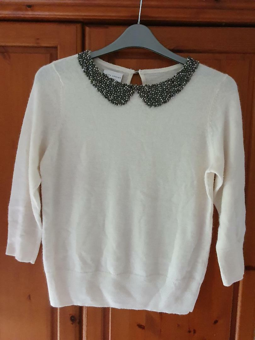 Laura Ashley 'Occasion Wear' Cream Jumper With Beaded Faux Collar - Size 14