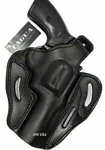 TAGUA-PREMIUM-OWB-2-Way-Thumb-Break-Belt-Holster-BLACK-Leather-for-REVOLVERS