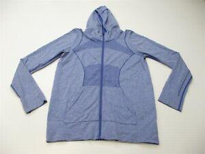 ZELLA-Women-039-s-Size-L-Seamless-Stretch-Running-Blue-Full-Zip-Hoodie-Sweater