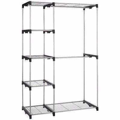 Silver Portable Closet Organizer Storage Clothes Hanger Garment Shelf Rail Rack