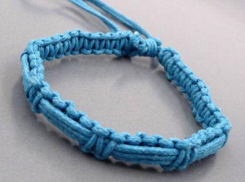 Bracelet réglable brésilien porte bonheur amitié en coton bleu turquoise N°2