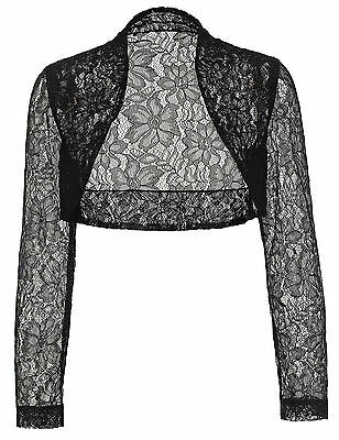 Womens Bridal Long Sleeve LACE Cropped Bolero Shrug Cardigan Crop Tops Plus Size