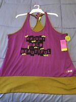Zumba Wear Fitness Cut Me Maybe Bubble Top Racerback Xl/xxl Purple/green