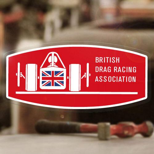 "British Drag Racing Association sticker decal old school hot rod 4.75/"""