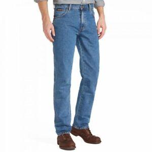 Wrangler-Mens-Straight-Leg-Jeans-Stonewash-Classic-Regular-Casual-Pants-W30-W48