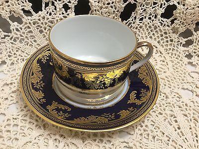 Bernardaud Limoges Tea Cup & Saucer Cobalt Blue & Gold-Franklin Mint       *2531