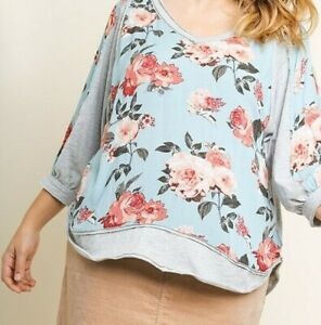 New-Umgee-Top-XL-X-Large-Dusty-Mint-Green-Floral-3-4-Puff-Sleeve-Plus-Size