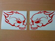 skull flames fun vinyl decals graphics stickers tank, forks,helmet,motorbike car