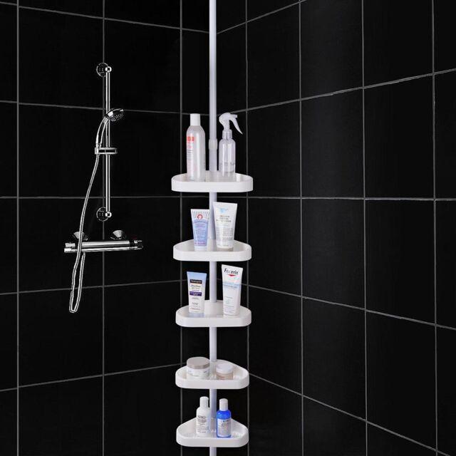 Shelf Shower Corner Tension Pole Caddy Organizer Bathroom Bath Storage Rack US
