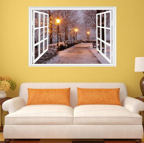 3D Fake Window View Snow Tree Street light Decal Wall Sticker Decor Art Mural