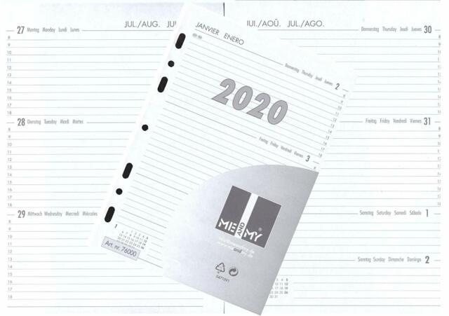 filofaxing Kalendereinlagen 2020-1 Woche auf 2 Seiten in DIN A5 Terminplaner