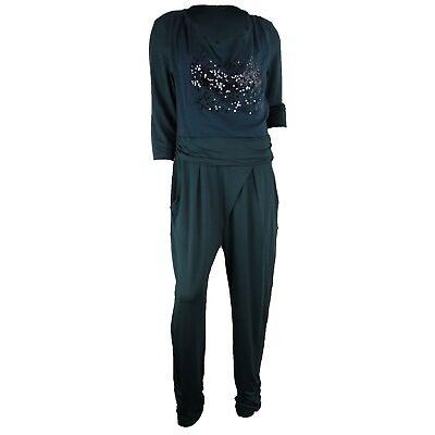 26961b3aa25608 Biba Damen Jumpsuit Overall grün dark petrol Pailletten