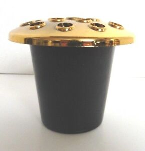 Black-With-Gold-Top-Memorial-Grave-Flower-Pot-Plastic-Height-10cm-16-Holes