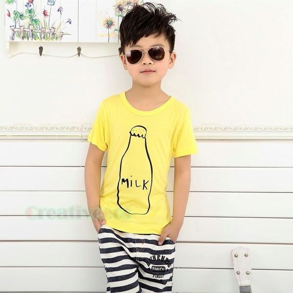 Summer Kids Toddlers Boys Milk Bottle Short Sleeve 100% Cotton Tops T-Shirt New