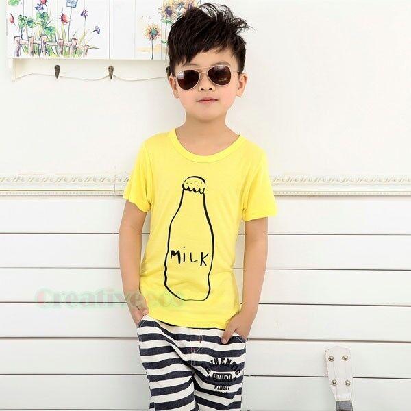 Summer Kids Toddlers Boys Milk Bottle Short Sleeve 100% Cotton Tops T-Shirt New