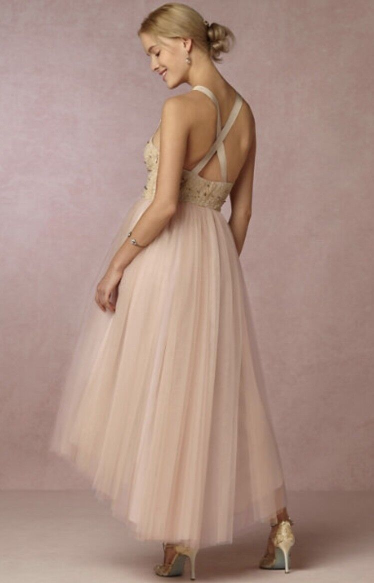 NEW James Coviello nude pink gold Lace Tulle Jeweled Bridal Formal Dress 12