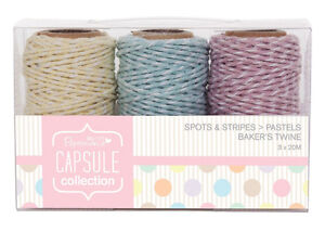 0-13-m-3-x-20m-Bakers-Twine-Pastell-Farben-gelb-blau-rosa-Kordel-Bastelschnur