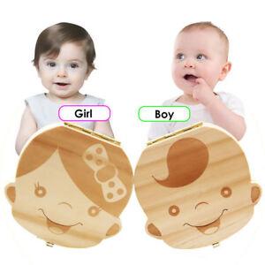 Kids Boy/&Girl Tooth Box Wood Storage Organizer Baby Save Milk Teeth Collecting