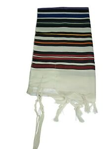 JEWISH MULTICOLOR PRAYER SHAWLTALLIT WOOL TALIT S=50