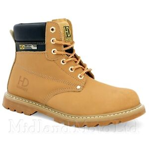 55cd097ebc2 Details about Heavy Duty Yellow Leather Steel Toe Cap SBP Safety Boots