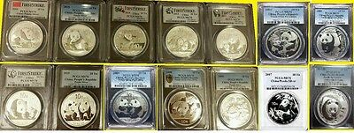 2001-2017 CHINA 10Y 17 OZ 999 SILVER PANDA 17 COINS COMPLETE SET ALL PCGS MS 70