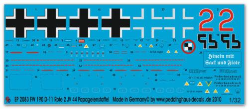 Peddinghaus 2083 1//32 FW 190 D-11 rote 2 des JV 44 Papageienstaffel Dirschauer