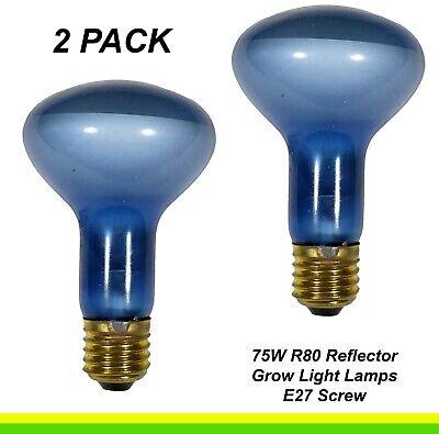 2 x 75W Plant Grow Light R80 Reflector Light Globes Bulbs E27 Screw ES