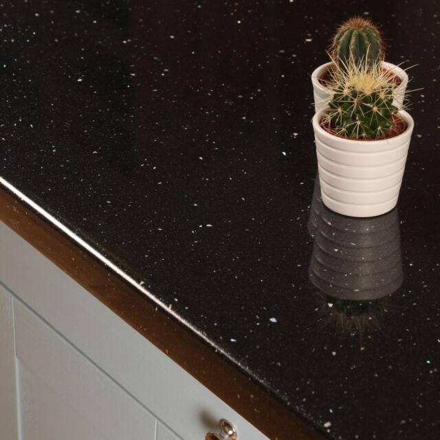 Black Sparkle Laminate Kitchen Worktops 38mm, Sparkle Effect, Edging Included