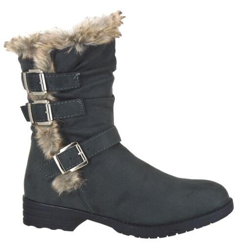 Mujeres Piel Forrada de Invierno Cálido Zapatos Damas Tacón Bajo Hebilla Mitad de Pantorrilla Botas Talla 3-9