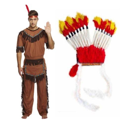 Adulto para Hombre Rojo jefe indio nativo y Pluma Tocado Disfraz Elaborado disfrazarse