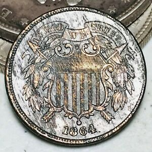 1864 Two Cent Piece 2C FULL MOTTO Corroded Civil War Era US Copper Coin CC6967