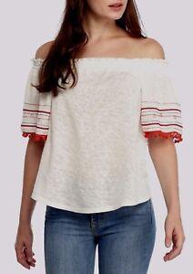 Vintage-America-GIA-Top-White-Red-Pom-Pom-Off-On-Shoulder-Tunic-Stretch-NWT-70