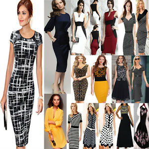 Elegant-Womens-Bodycon-Evening-Party-Wear-to-Work-Office-Business-Dress-Summer