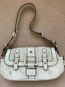 Details about Guess, Cream small fabric handbag