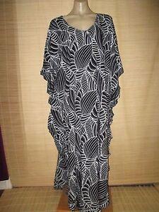 Quality-Kaftan-frill-Dress-Black-amp-White-Rayon-RESORT-ONESIZE-16-22-best