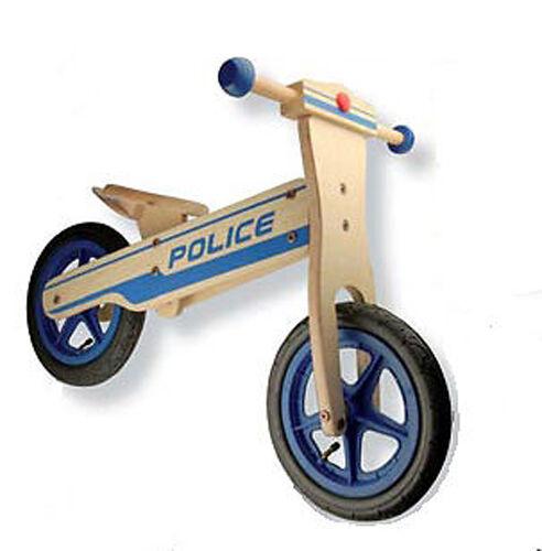 Velo en bois sans pédale Draisienne azul style moto Police jouet enfant garçon