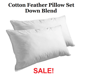 2-Pack-100-Cotton-Cover-Premium-Feather-Bed-Pillows-Standard-Queen-King-Size